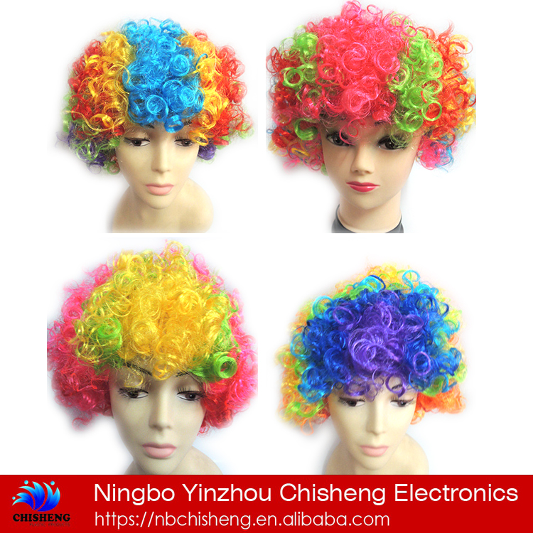 Supplies halloween tool clown explosion hair football fan party wigs