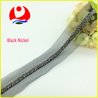 Simple Cheap Beaded Lace Trim Sew on Black Mesh Garment Decoration