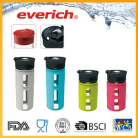 Rust-proof empty small camp drinking glass bottle silicone sleeve