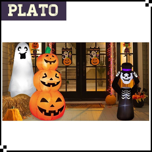 Inflatable Outdoor Halloween Decoration/Giant Inflatable Fix light Pumpkin and Ghost for Halloween