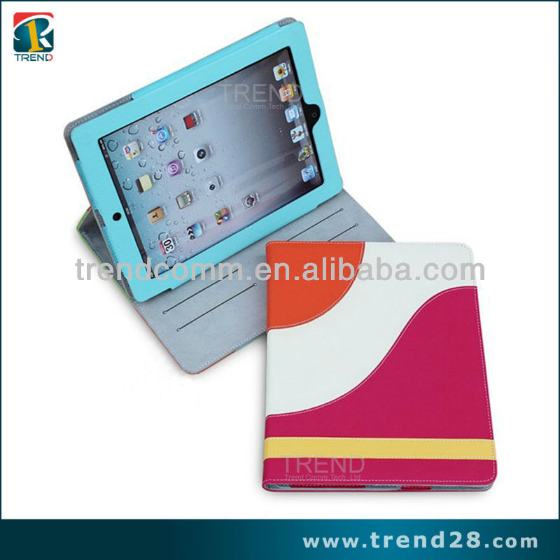 made in china colorful kickstand PU case for ipad 3