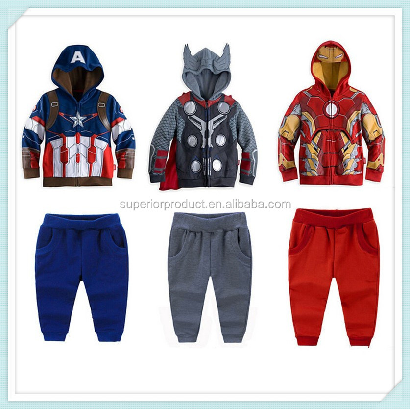 Autumn Avengers Boys Clothing Set Captain America Iron Man Tracksuit Cartoon Super Hero Costume Anime Hoodie Suit