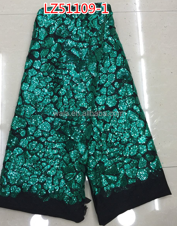 african french net lace LZ51109--1green and black bridal embroidered tulle lace fabric with sequins