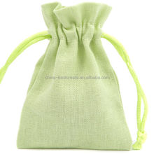 High Quality pastel green Linen Gift Pouch Gift packing Bags with Cotton Drawstring