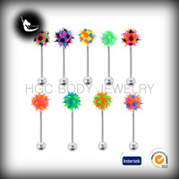 hot sale koosh ball tongue barbell, suigical silicone koosh barbell, koosh jewelry barbell,