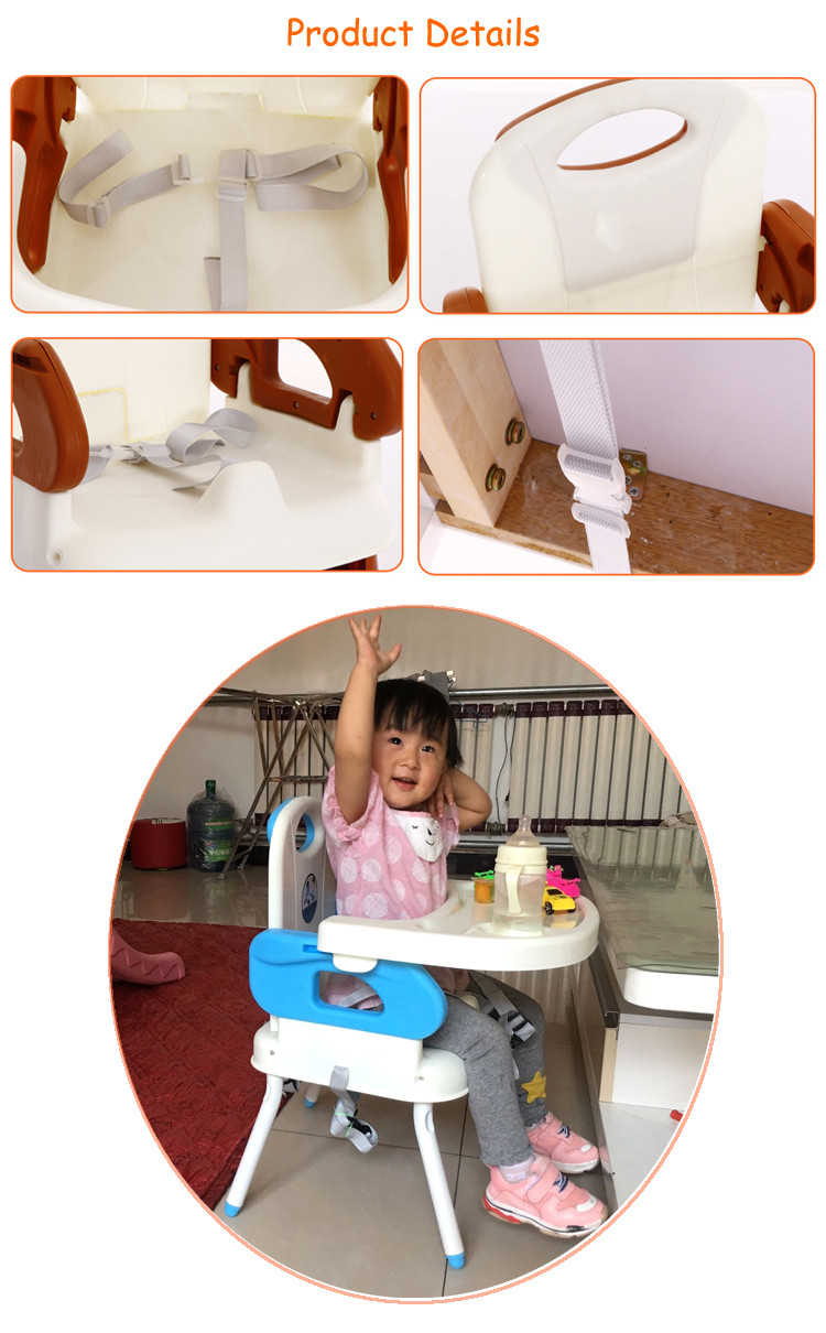 Easy foldable kids feeding food camping booster chair with legs