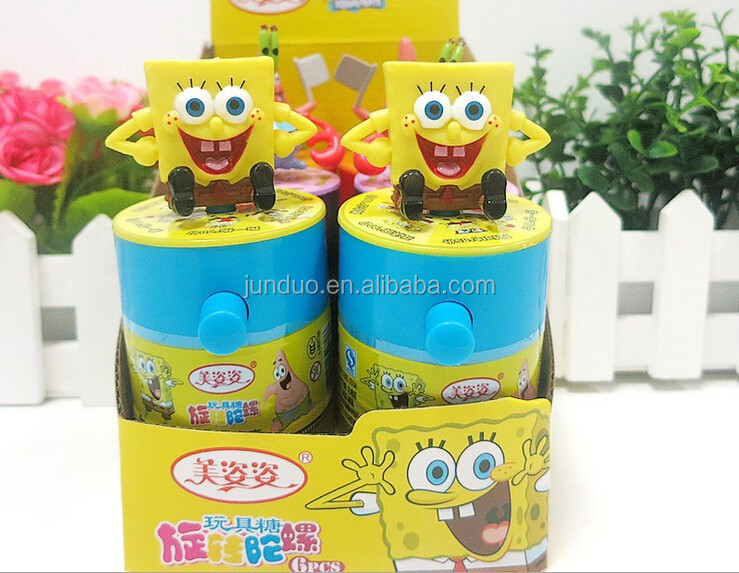 spongebob spinning top candy toy tin