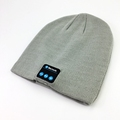custom woven label/ embroidery/ leather patch logo wool bluetooth beanie hat with headphone wholesale