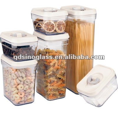 SINOGLASS 6 pcs set with lid lock plastic top plastic airtight storage jar