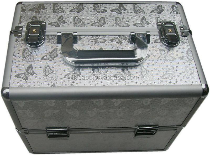 deluxe cosmetic case with train rolling aluminum cases with makeup