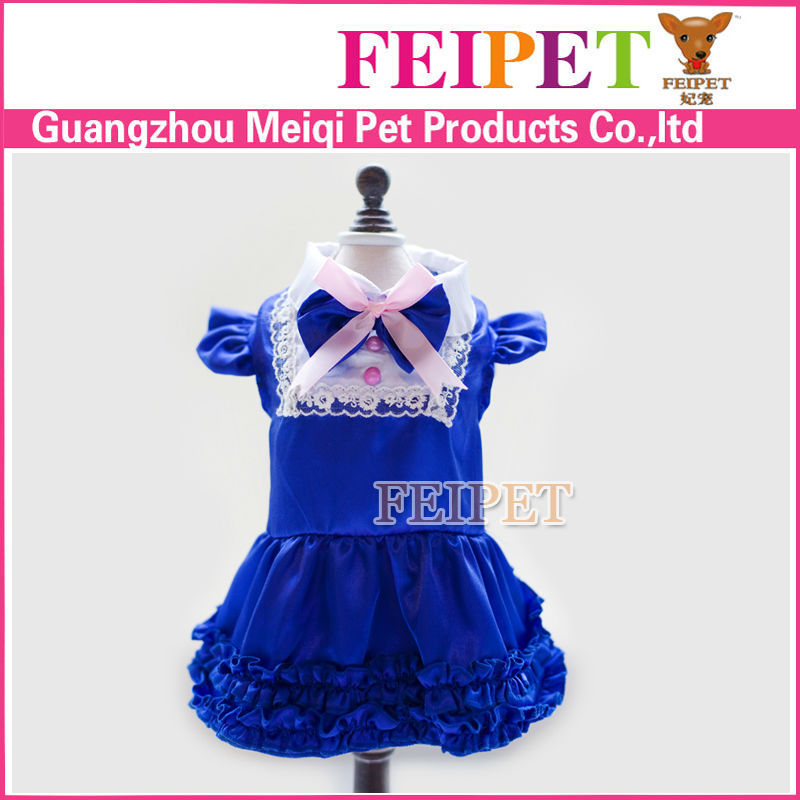 luxury royal blue dog clothes pet wedding dress for pets