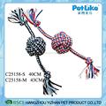 Colorful T-Shirt Rope Ball With Twist handle Soft Dog Chewing Products