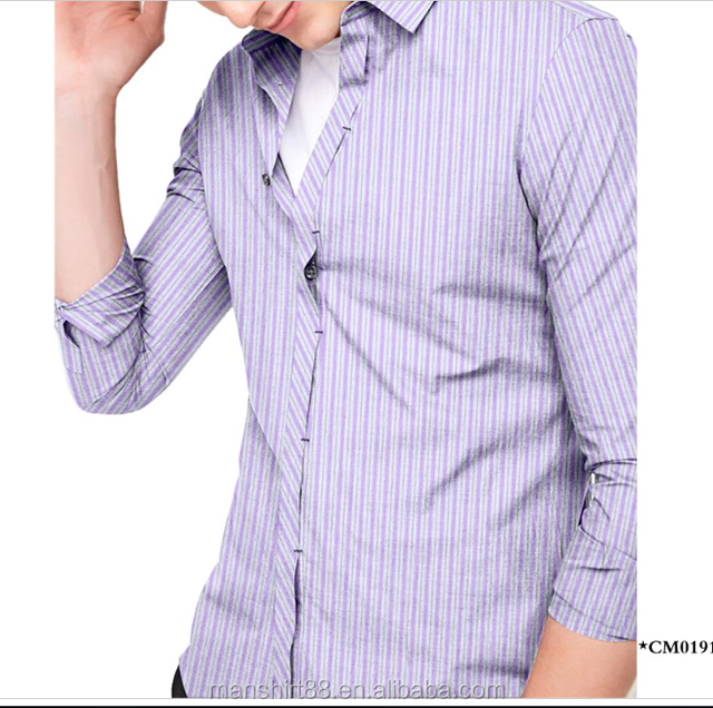 Custom Collar Slim Fit 100% Cotton Stripe Dress Shirt For Men
