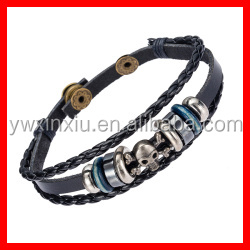 Top Selling Punk Skull Bracelet Men's Leather Jewelry Wholesale Cheap Price Handmade Bracelet