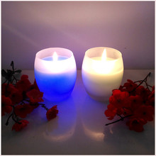 LED color changing pure paraffin wax glass candle for religious activities