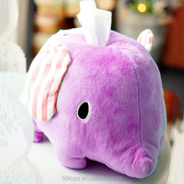 Plush elephant tissue box cover for car tissue box cover