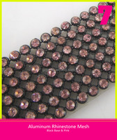 Hotfix Aluminum Crystal Mesh Black Base Pink Rhinestone 2mm/3mm/4mm for Clothing