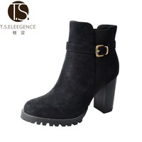 2016 Newest Design Fashion Winter Suede Upper High Heel Women Snow Boots Shoes Women Winter Boots