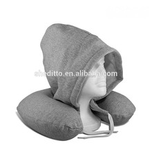 Airplane neck message SGS certificated memory foam filled skin fabric jersey cowl travel pillow hoodie neck pillow