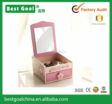 Pink wooden jewelry box with make up mirror with storage drawer