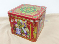Square music tin box for gift packing