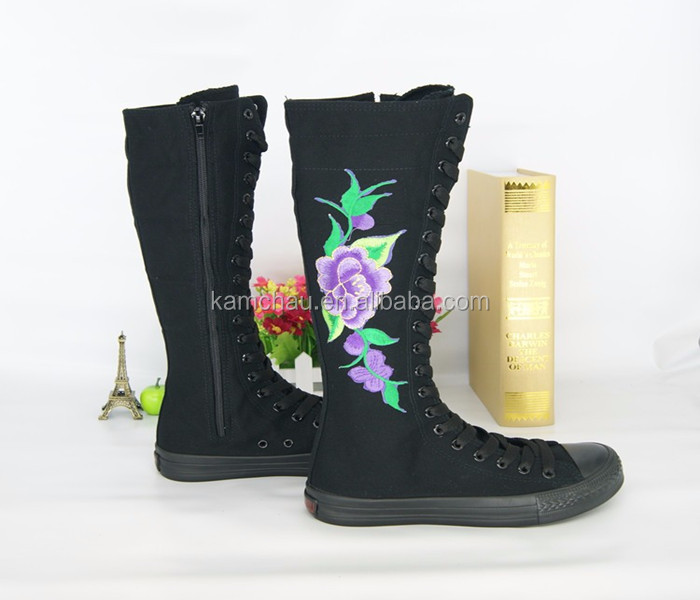 newest discount high quality floral knee high zipper girls black canvas sneakers plimsoll shoes for women