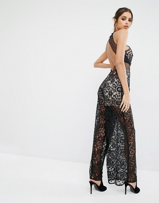 Hot Sale Latest Fashion Design Sexy Jumpsuit, Kendall and Kylie Lace Sleeveless Women's Black Jumpsuit for Ladies