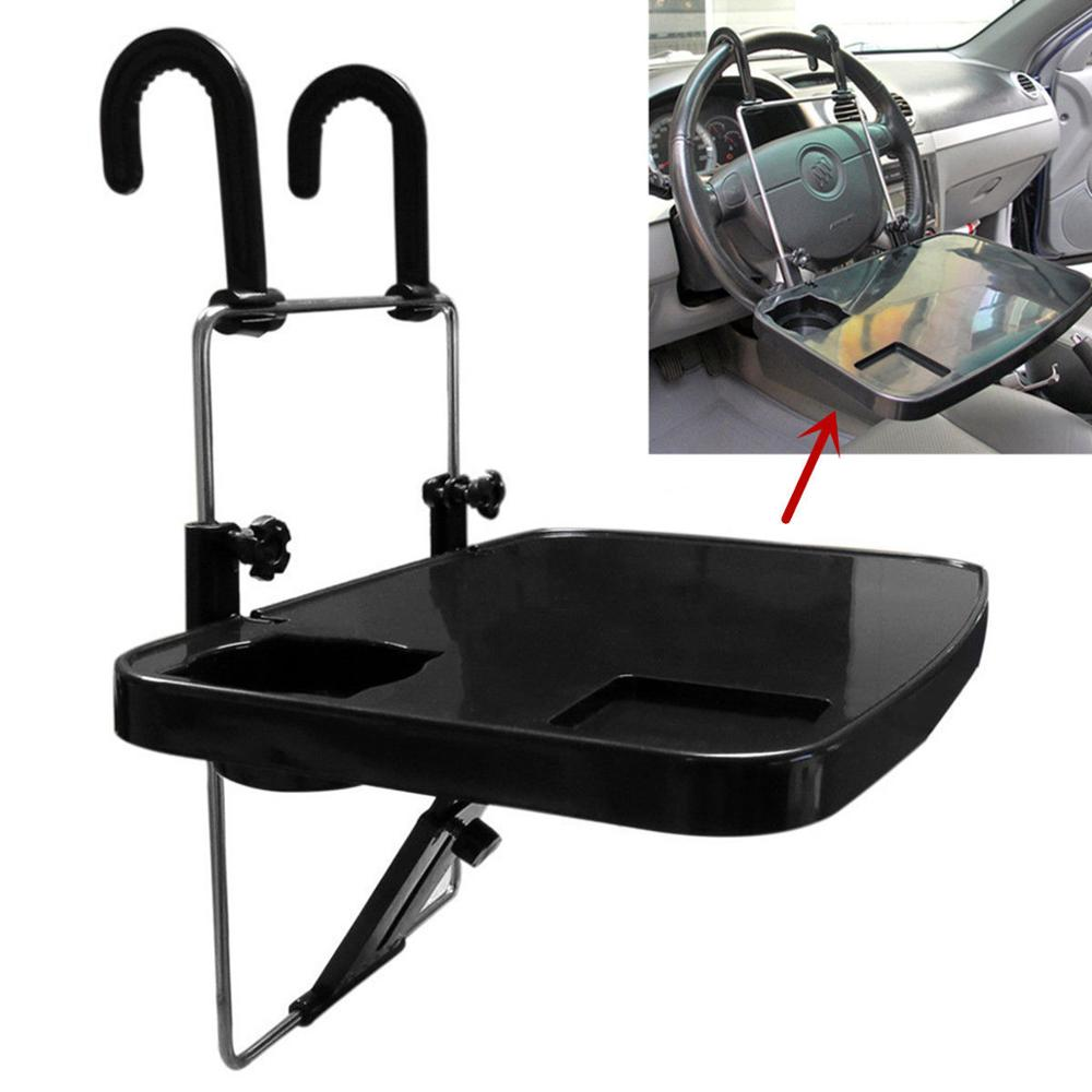 Black Foldable Car SUV Steering Wheel Mount Desk Laptop Tray Stand Holder Table