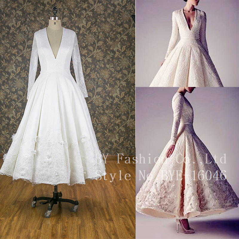 Lace Appliqued High Quality Heavy Beading Crystal Lace Flower Custom Bridal Wedding Dresses Long sleeve V neck sexy Wedding gown