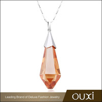 OUXI fashion crystal silver couple necklace Y30240