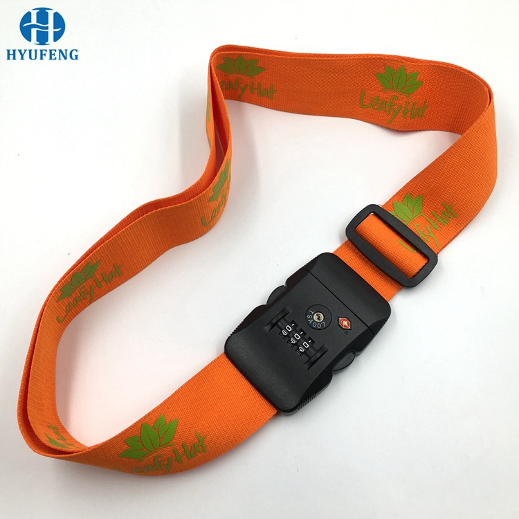 Adjustable Polyester 3 Digit Combination Lock Luggage Strap With Your Logo