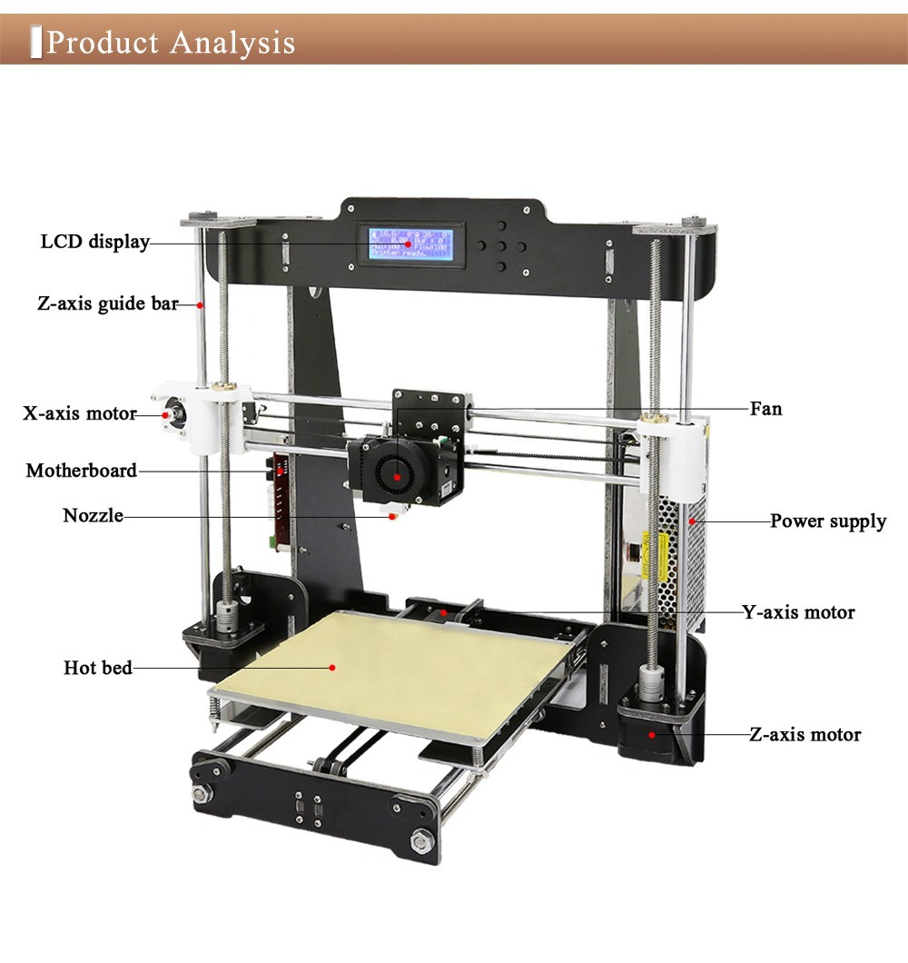 New Arrival Reprap Prusa i3 3D Printer with Monitor Screen DIY 3D Printer Machine for ABS PLA Printing 1.75mm