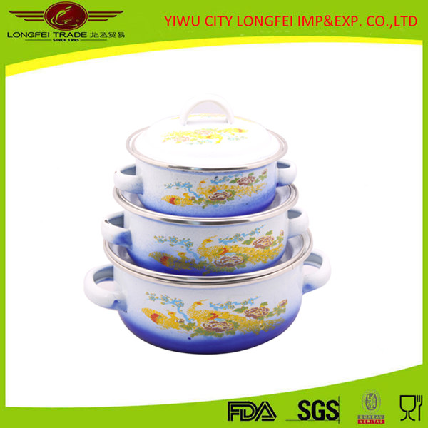 2016 blue color china yiwu high quality cast iron enamel cookware