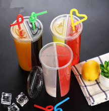 700ml Split Bubble Tea Cups Plastic Split Boba Tea Glass Cups with 2 Compartment Containers