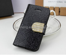 For Samsung S3 Bling Leather Case, Black Flip Wallet Case w/ Diamond