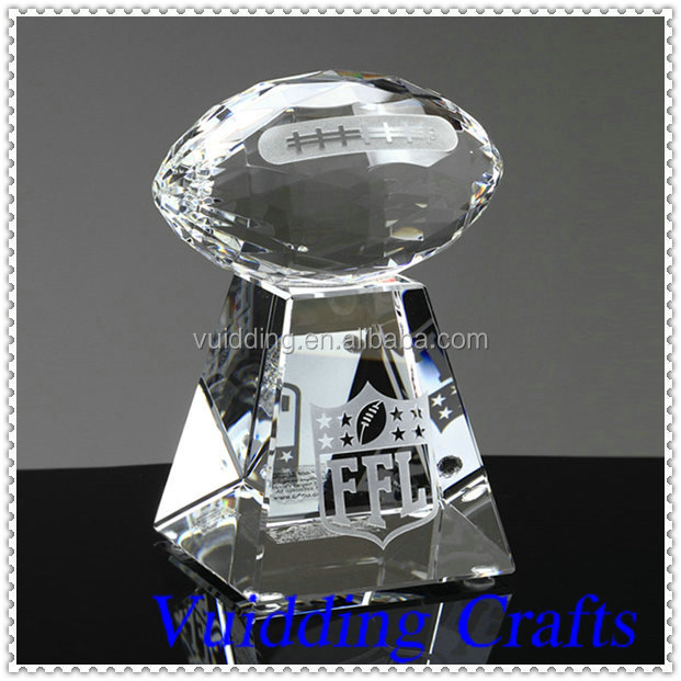 High Quality K9 Fancy Sports Souvenir Gifts Crystal Rugby Trophy