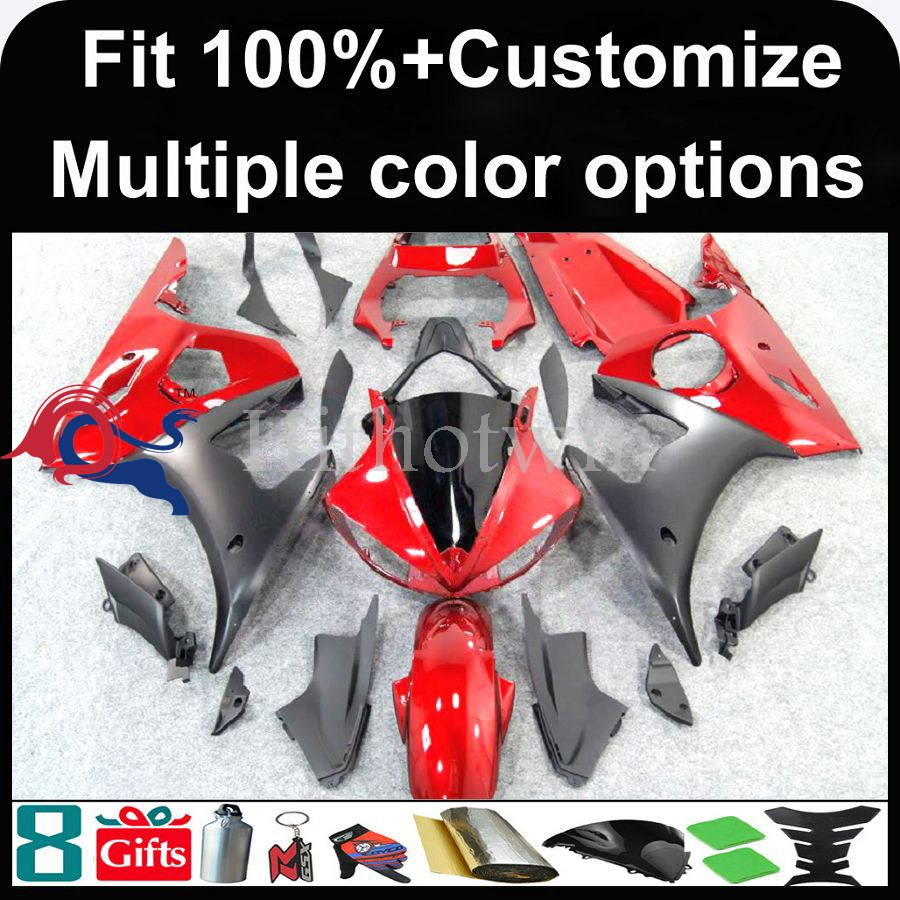 INJECTION MOLDING panels 2003 2004 2005 YZFR6 For yamaha YZF R6 2003 2005 2004 YZF-R6 03 04 05 red and matte black Fairing