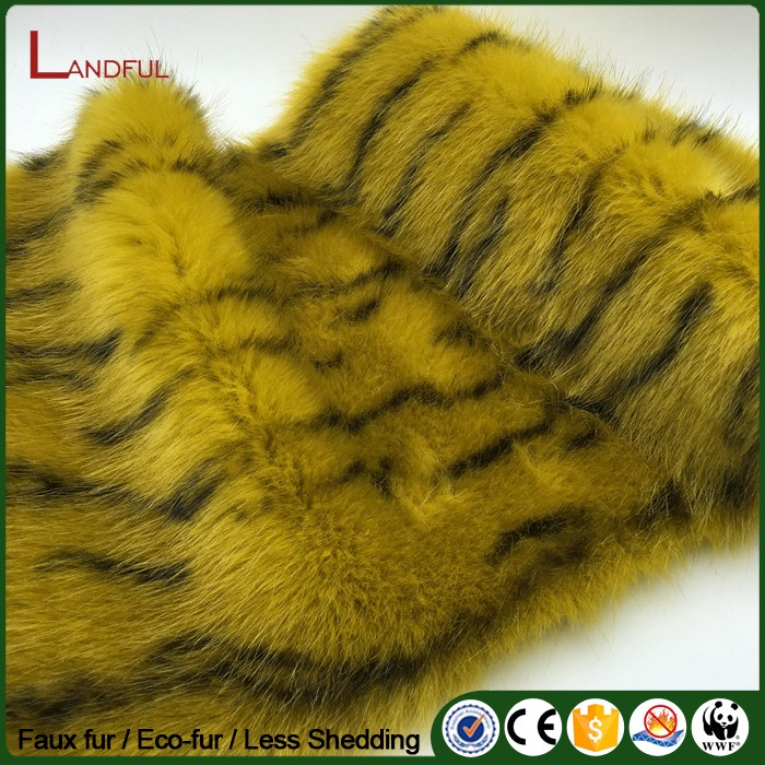 Tiger color High quality women coat fur home upholstery material luxury printing faux fox fur