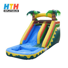 Green jungle tall water slides with swimming pool