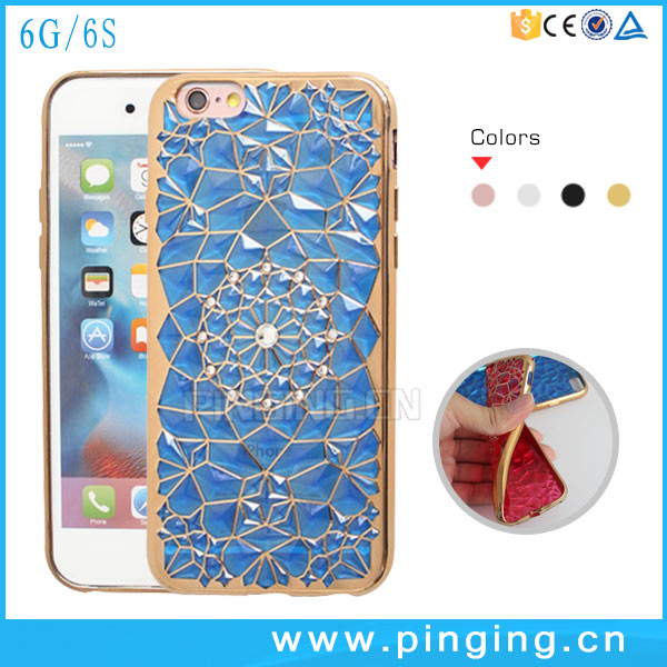 Bling 3D Sunflower Diamond Soft Clear TPU Electroplating Bumper Case For iPhone 6 Cover