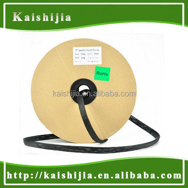 High quality Black Shrink PET Braided Expandable Cable Sleeve sleeving