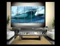 huge ocean waves scenery oil painting