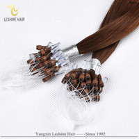 Alibaba Hot Sale 100% Strong Stick Double drawn Cheap Indian 22inch remy hair micro loop ring hair extension