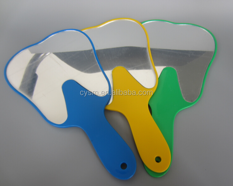 teeth shape dental mirrors with different color for choose