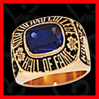 Durable Solid championship ring deep engraved letters with blue stone fashion design
