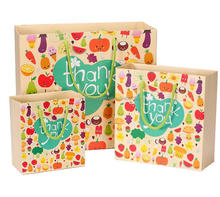 Cheap Colorful Elegant Fruit Printing Thank You Gift Shopping Bag Kraft/Art Candy Paper Bag