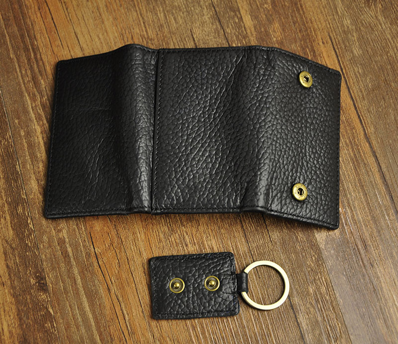 Fashion Black PU Leather Key Chain Wallet Key Case