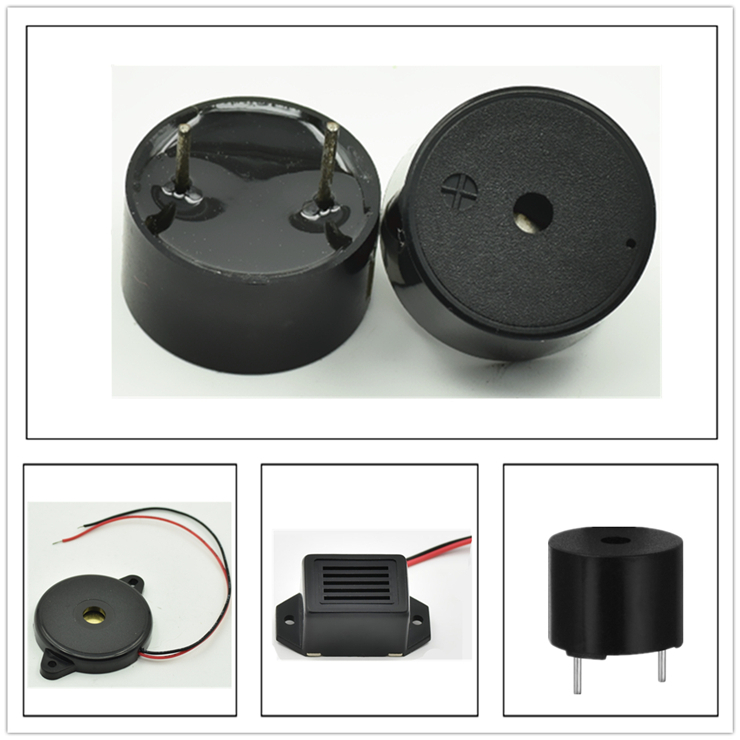 RoHS 100dB Black 12V Piezo Buzzer With Pin