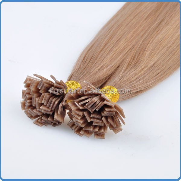 Reliable supplier easily used MOQ 100strands/pack high quality silky straight wave flat link human hair