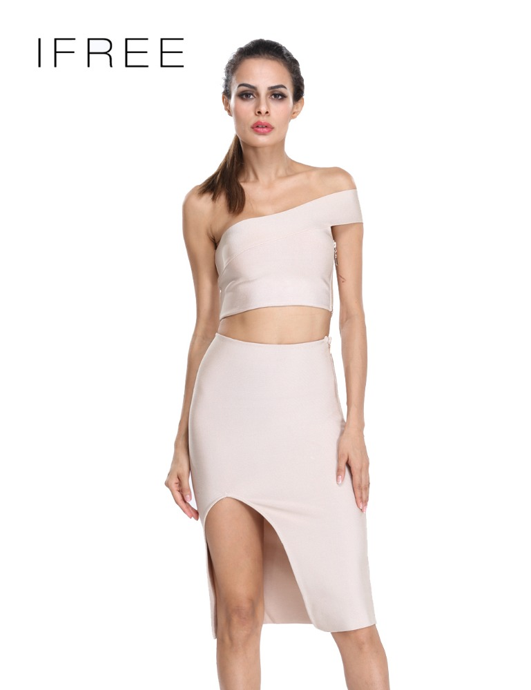Guangzhou New Fashion Off Shoulder Two-piece Peach Split Bandage Sexy Ladies Clothes